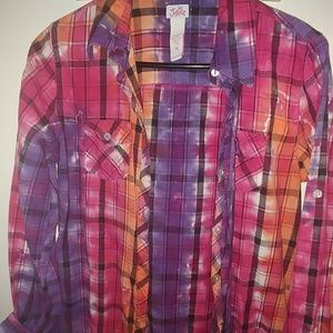Girls colorful size button up long sleeve shirt